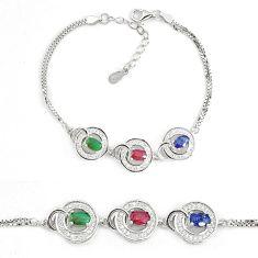 Natural blue sapphire ruby 925 sterling silver tennis bracelet a74447 c24946