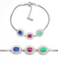 Natural blue sapphire ruby 925 sterling silver tennis bracelet a74449 c24947