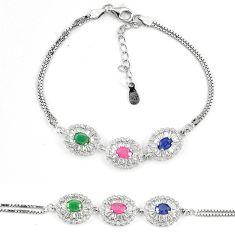 Natural blue sapphire ruby 925 sterling silver tennis bracelet a74451 c24944