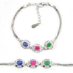 Natural blue sapphire ruby 925 sterling silver tennis bracelet a74452 c24945