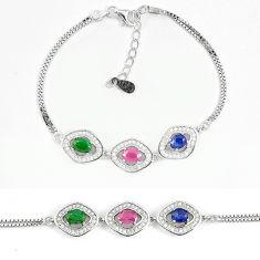 Natural blue sapphire ruby 925 sterling silver tennis bracelet a74454 c24948