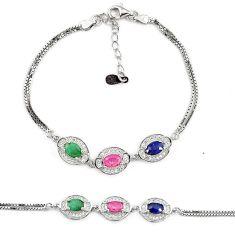 Natural blue sapphire ruby 925 sterling silver tennis bracelet a74457 c24942