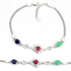 9.38cts natural blue sapphire ruby emerald 925 sterling silver bracelet c19747