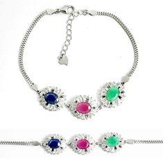 Natural blue sapphire topaz emerald ruby 925 silver tennis bracelet c25945