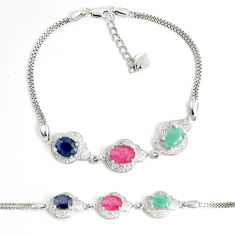 Natural blue sapphire topaz emerald ruby 925 silver tennis bracelet c25947