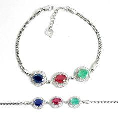 Natural blue sapphire topaz emerald ruby 925 silver tennis bracelet c25951
