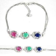 Natural blue sapphire topaz emerald ruby 925 silver tennis bracelet c25954