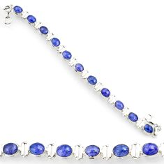 23.58cts natural blue tanzanite 925 silver tennis bracelet jewelry d44356