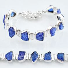 39.67cts natural blue tanzanite raw 925 silver tennis bracelet jewelry t7741