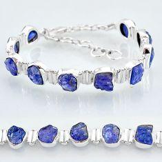 38.46cts natural blue tanzanite raw 925 silver tennis bracelet jewelry t7742