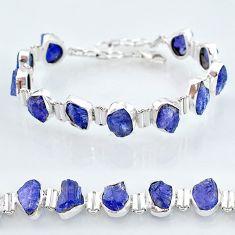 43.19cts natural blue tanzanite raw 925 silver tennis bracelet jewelry t7743