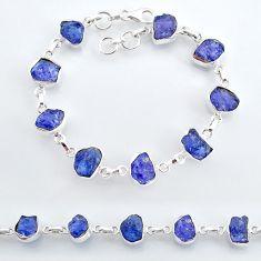 34.06cts natural blue tanzanite raw 925 silver tennis bracelet jewelry t7768