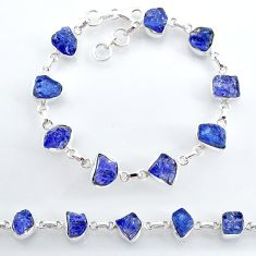 34.39cts natural blue tanzanite raw 925 silver tennis bracelet jewelry t7769