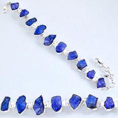 64.50cts natural blue tanzanite rough 925 silver tennis bracelet r61761