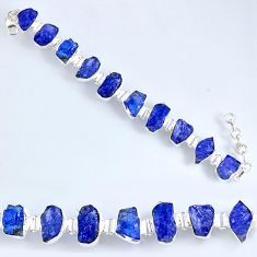 70.82cts natural blue tanzanite rough 925 silver tennis bracelet r61762
