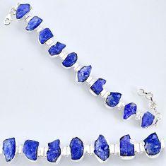 69.36cts natural blue tanzanite rough 925 silver tennis bracelet r61763