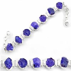 50.14cts natural blue tanzanite rough 925 sterling silver tennis bracelet d45845