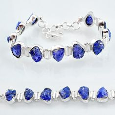 39.48cts natural blue tanzanite raw 925 sterling silver tennis bracelet t7745