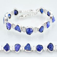 36.57cts natural blue tanzanite raw 925 sterling silver tennis bracelet t7747