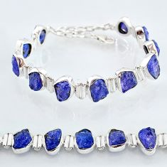 40.65cts natural blue tanzanite raw 925 sterling silver tennis bracelet t7749