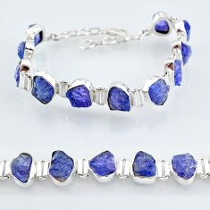 41.06cts natural blue tanzanite raw 925 sterling silver tennis bracelet t7750