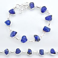 40.08cts natural blue tanzanite raw 925 sterling silver tennis bracelet t7761