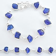 35.77cts natural blue tanzanite raw 925 sterling silver tennis bracelet t7762