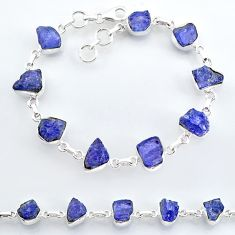 36.23cts natural blue tanzanite raw 925 sterling silver tennis bracelet t7763