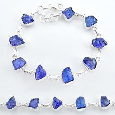 35.27cts natural blue tanzanite raw 925 sterling silver tennis bracelet t7766