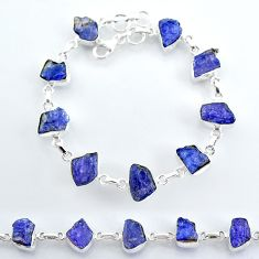 35.27cts natural blue tanzanite raw 925 sterling silver tennis bracelet t7767