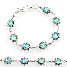 Clearance Sale- 13.50cts natural blue topaz 925 sterling silver tennis bracelet jewelry d44283