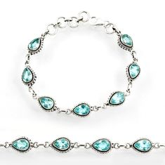 Clearance Sale- 13.32cts natural blue topaz 925 sterling silver tennis bracelet jewelry d44293