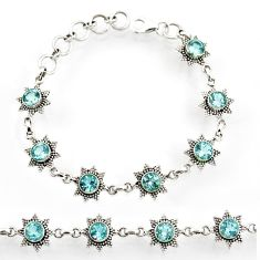 Clearance Sale- 9.43cts natural blue topaz 925 sterling silver tennis bracelet jewelry d44297