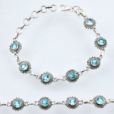 6.15cts natural blue topaz 925 sterling silver tennis bracelet jewelry r54952