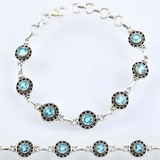 5.77cts natural blue topaz 925 sterling silver tennis bracelet jewelry r54966