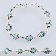 6.52cts natural blue topaz 925 sterling silver tennis bracelet jewelry r55007