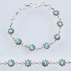 6.90cts natural blue topaz 925 sterling silver tennis bracelet jewelry r55009