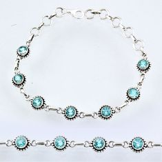 6.92cts natural blue topaz 925 sterling silver tennis bracelet jewelry r55059