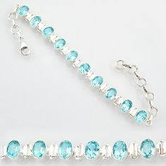 22.04cts natural blue topaz 925 sterling silver tennis bracelet jewelry r87068