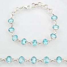 20.45cts natural blue topaz 925 sterling silver tennis bracelet jewelry r87084