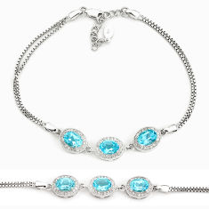 8.42cts natural blue topaz topaz 925 sterling silver bracelet jewelry c19667