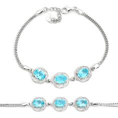 10.37cts natural blue topaz topaz 925 sterling silver bracelet jewelry c19677