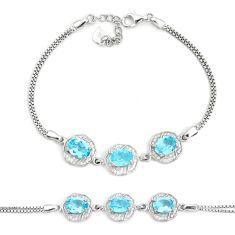 10.37cts natural blue topaz topaz 925 sterling silver bracelet jewelry c19677