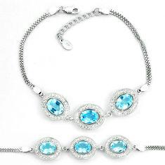 12.71cts natural blue topaz topaz 925 sterling silver tennis bracelet c19661