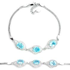 9.65cts natural blue topaz topaz 925 sterling silver tennis bracelet c19663
