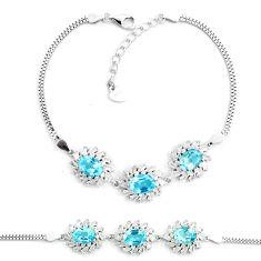 12.71cts natural blue topaz topaz 925 sterling silver tennis bracelet c19679