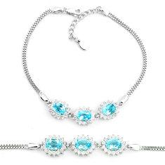 10.74cts natural blue topaz topaz 925 sterling silver tennis bracelet c19818