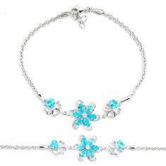 5.42cts natural blue topaz topaz sterling silver tennis bracelet a94884 c24274