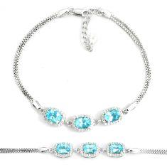 8.44cts natural blue topaz white topaz 925 silver tennis bracelet c19668