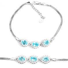 8.96cts natural blue topaz white topaz 925 silver tennis bracelet c19806